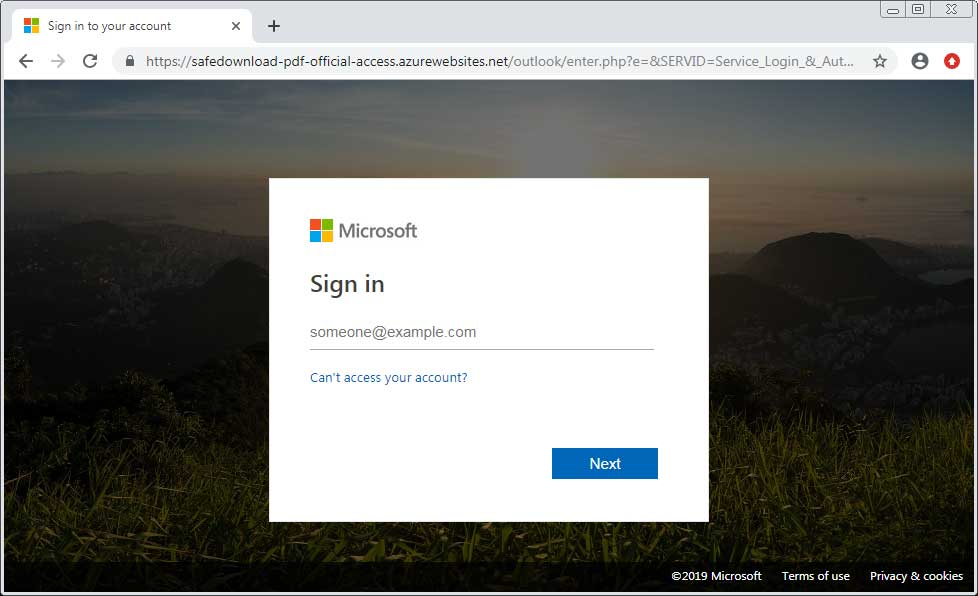 Phishing site on azurewebsites.net