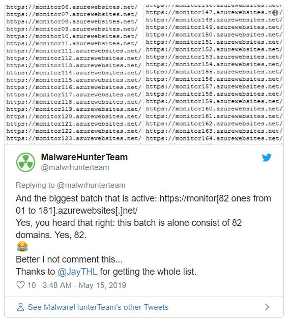 Tweet from MalwareHunterTeam
