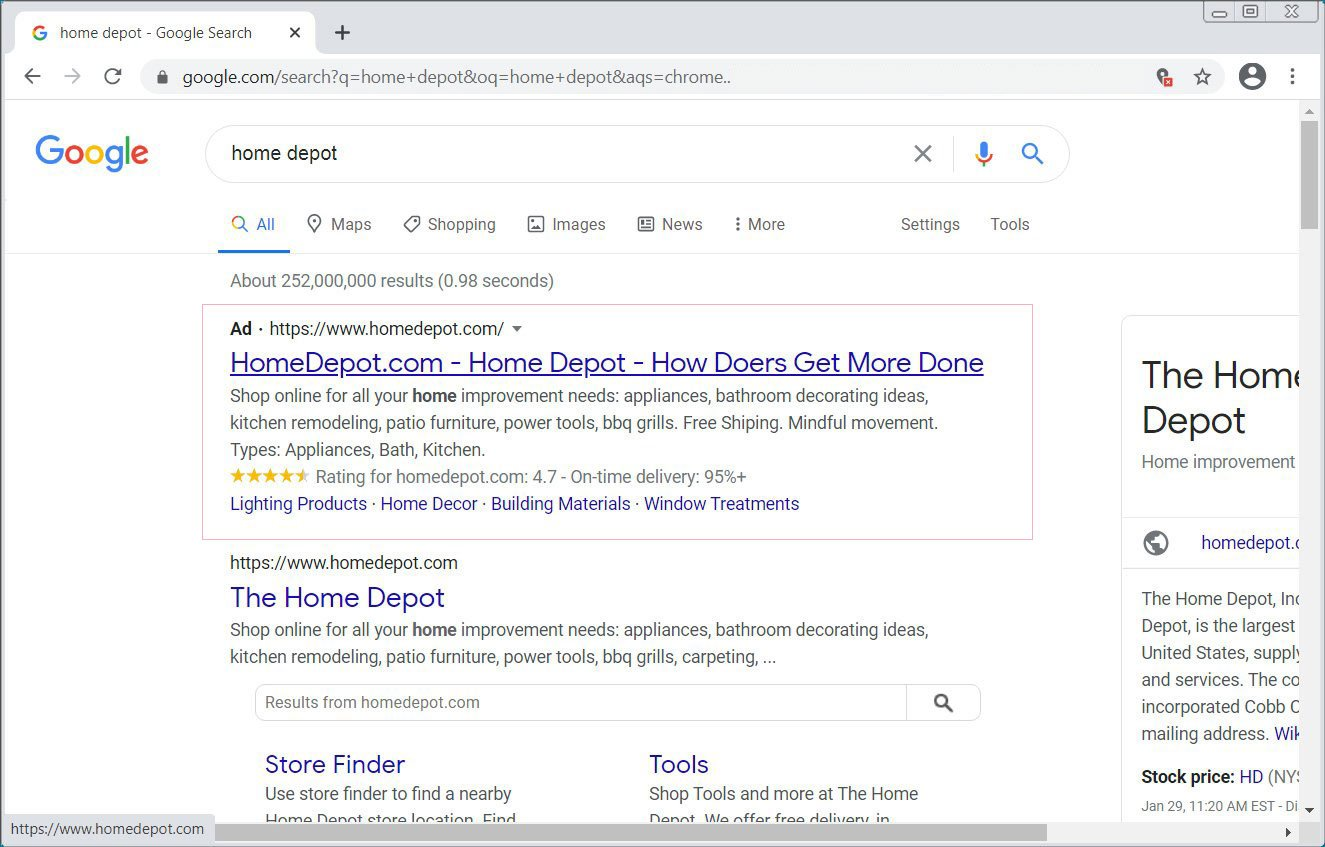 Home Depot ad in Google Search