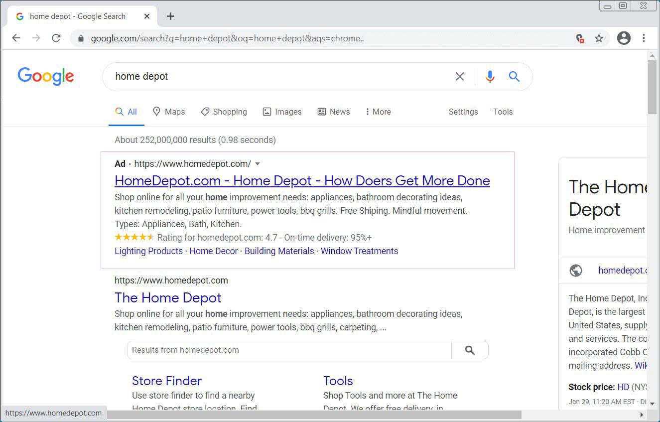 Google検索のホームデポ広告