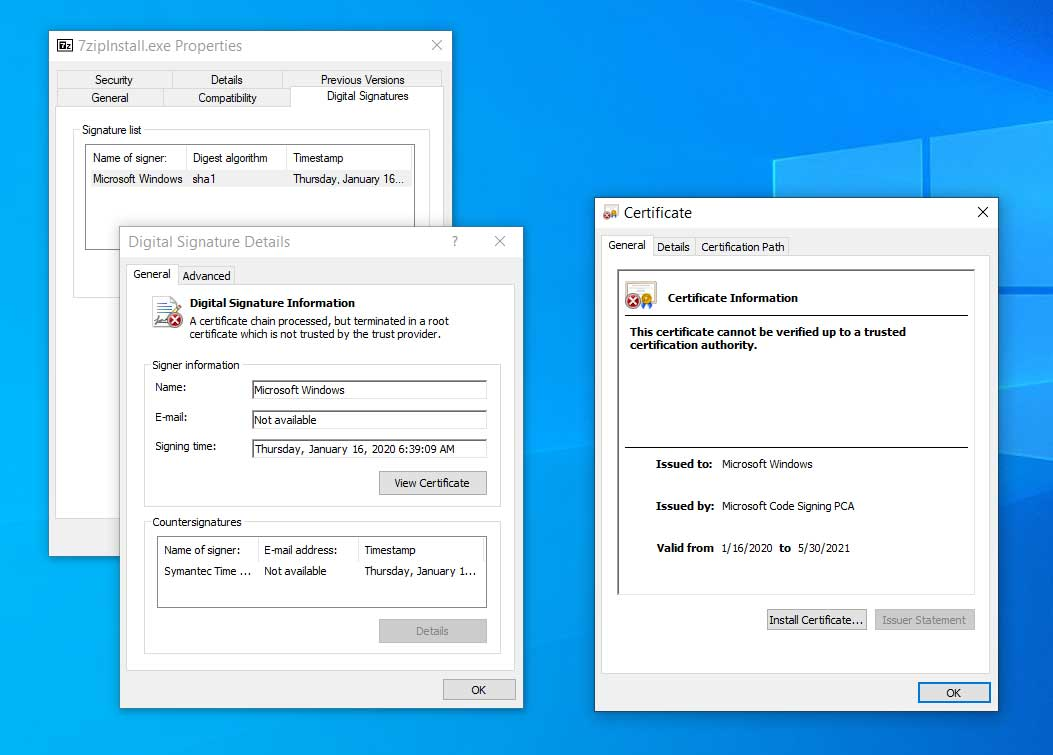 Certificates on a patched system