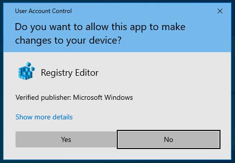 UAC Prompt for the Windows Registry Editor