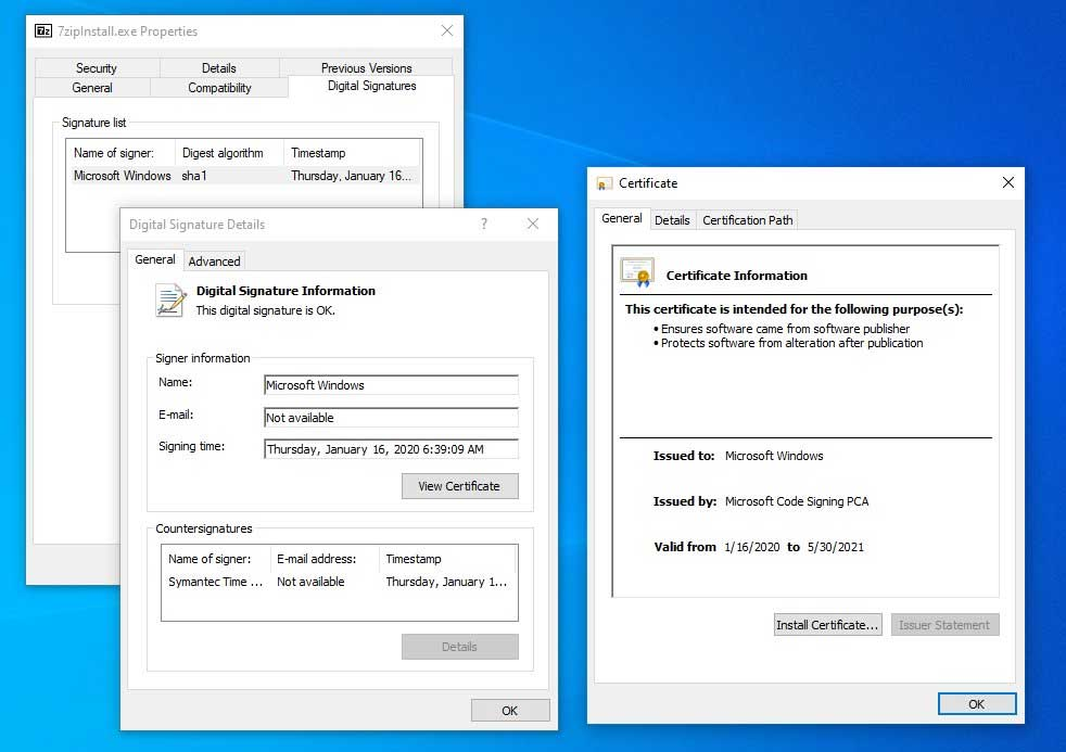 Certificates on an unpatched system