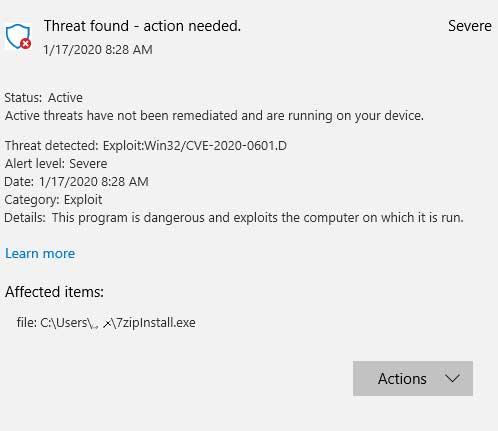 Windows Defender detectedCVE-2020-0601