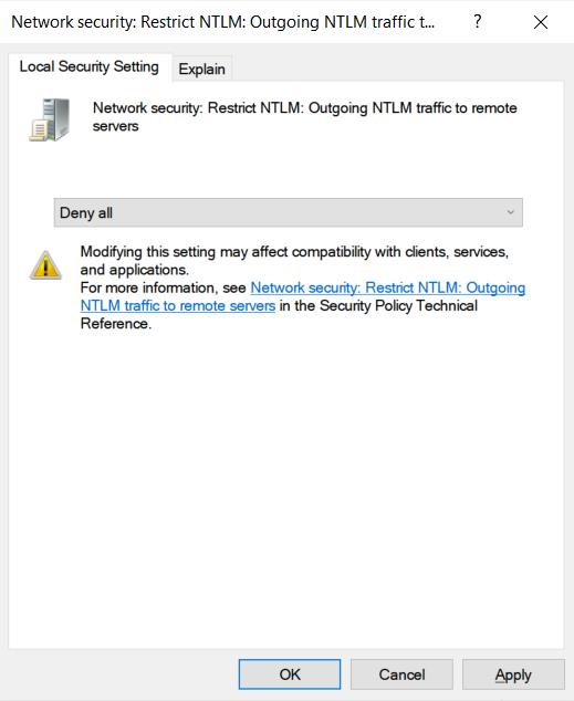 Network security: Restrict NTLM: Outgoing NTLM traffic to remote servers policy