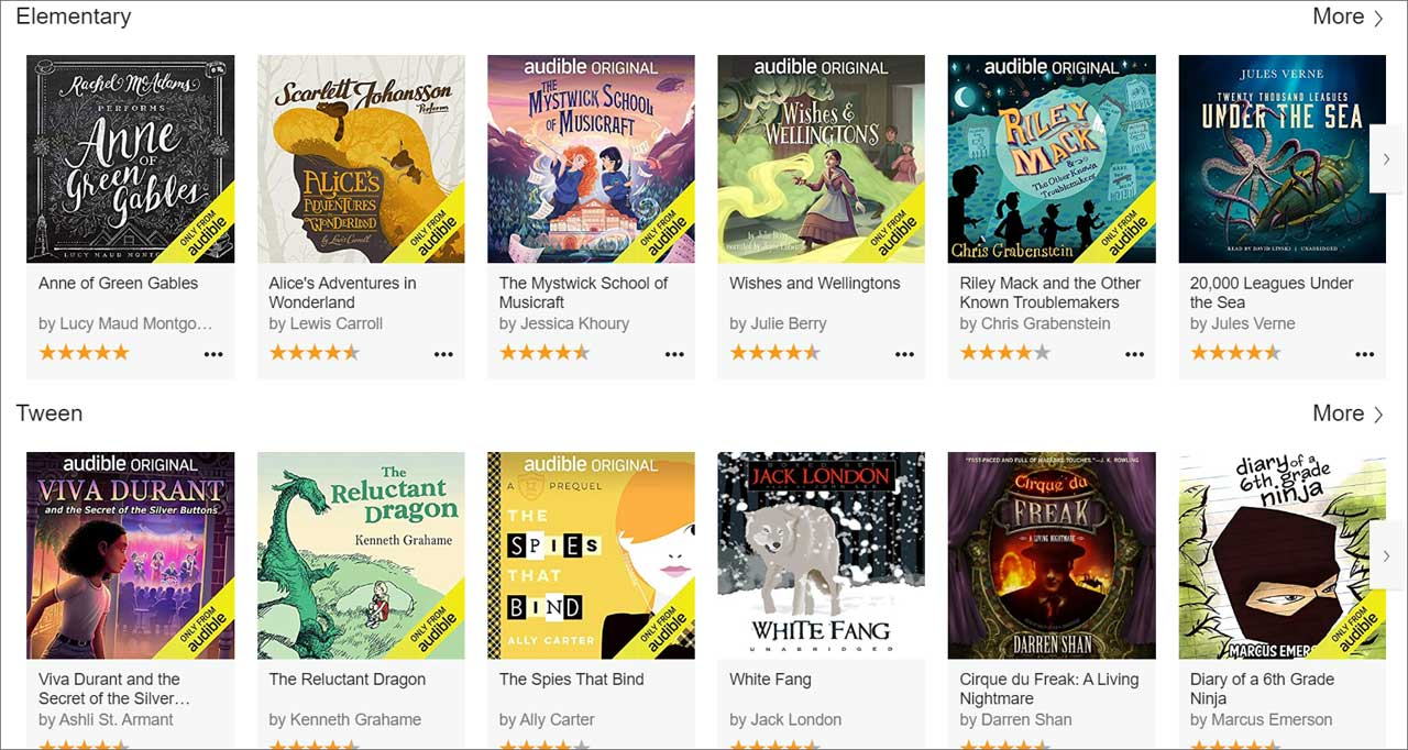 Some of the books available on Audible Stories