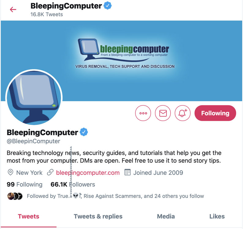 BleepingComputer Twitter page with glitch characters