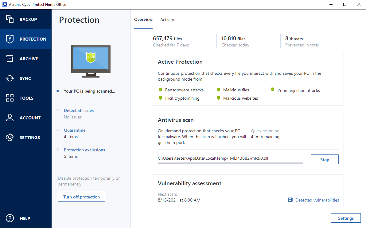 Acronis Cyber Protect Home Office antivirus scan