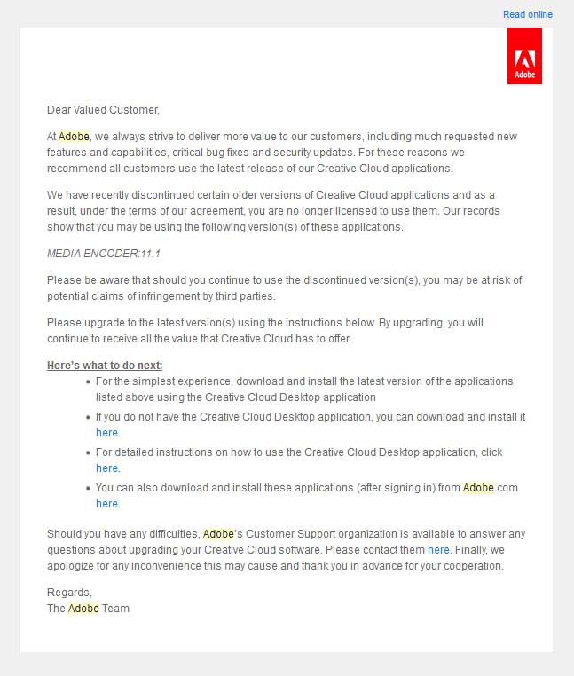Email from Adobe (Source: Ashley Lynch)