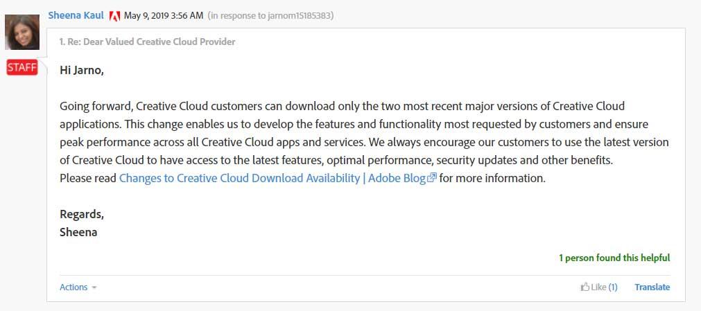 Forum post by Adobe employee