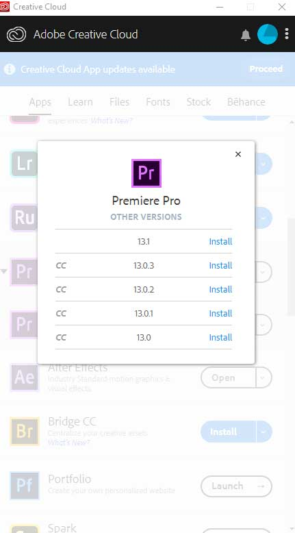 Limited versions in Creative Cloud
