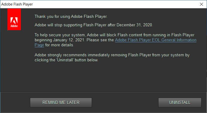 Adobe Flash Player alert shown in Windows 10