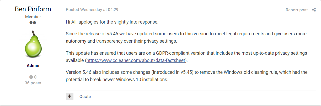 CCleaner Disregarding Settings and Forcing Update to Latest