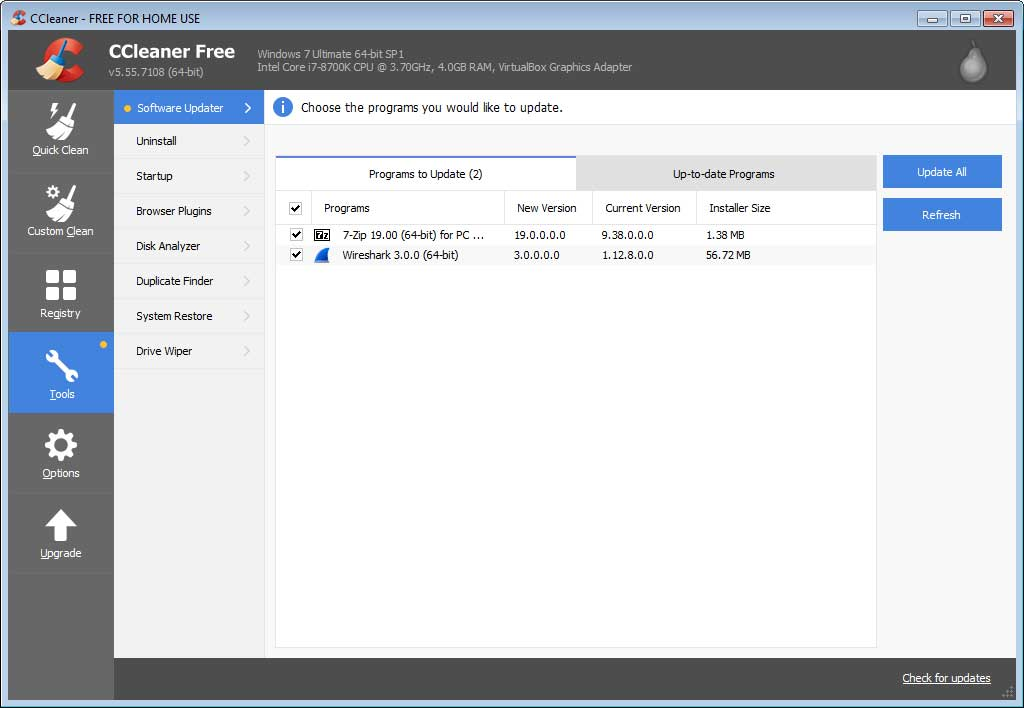 CCleaner Professional Adds Software Updater Feature