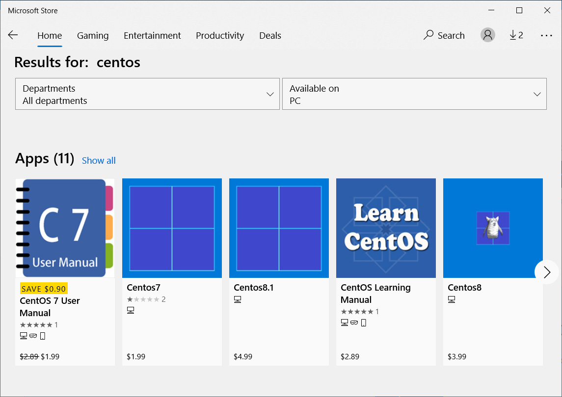 Microsoft Store paid-for Centos distributions