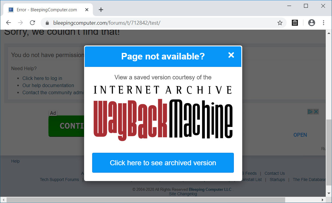 Wayback Machine Extension