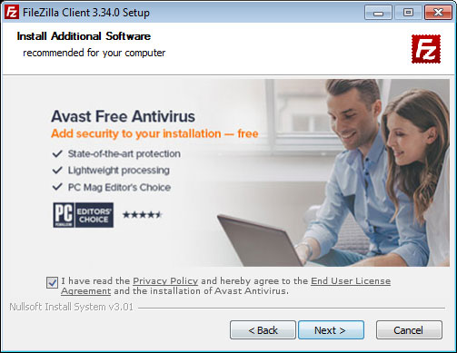 AVAST-Bundle in FileZilla