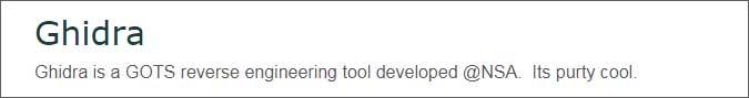 NSA Releasing the GHIDRA Reverse Engineering Tool at