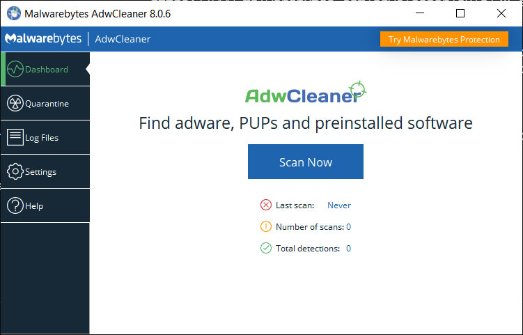 AdwCleaner running with a GUI
