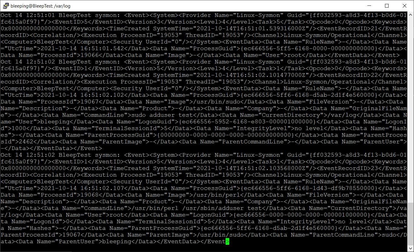 /var/log/syslog'da günlüğe kaydedilen Sysmon olayları