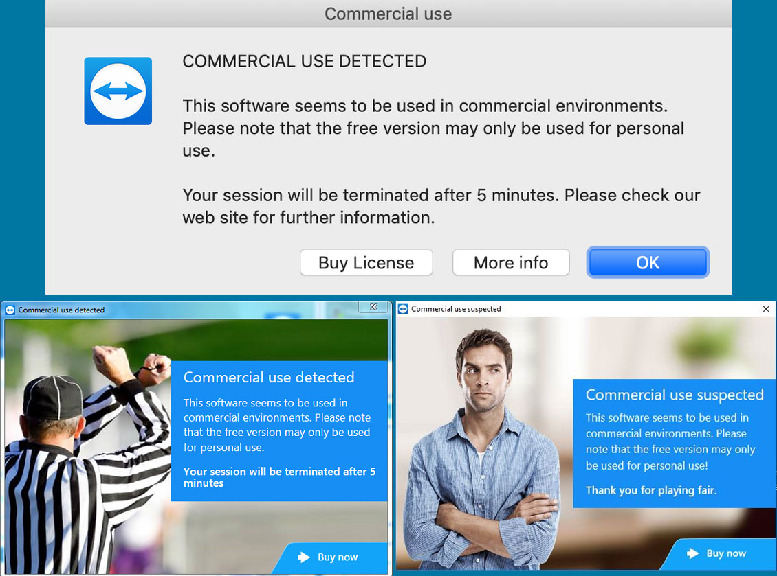 TeamViewer Commercial use detected alerts