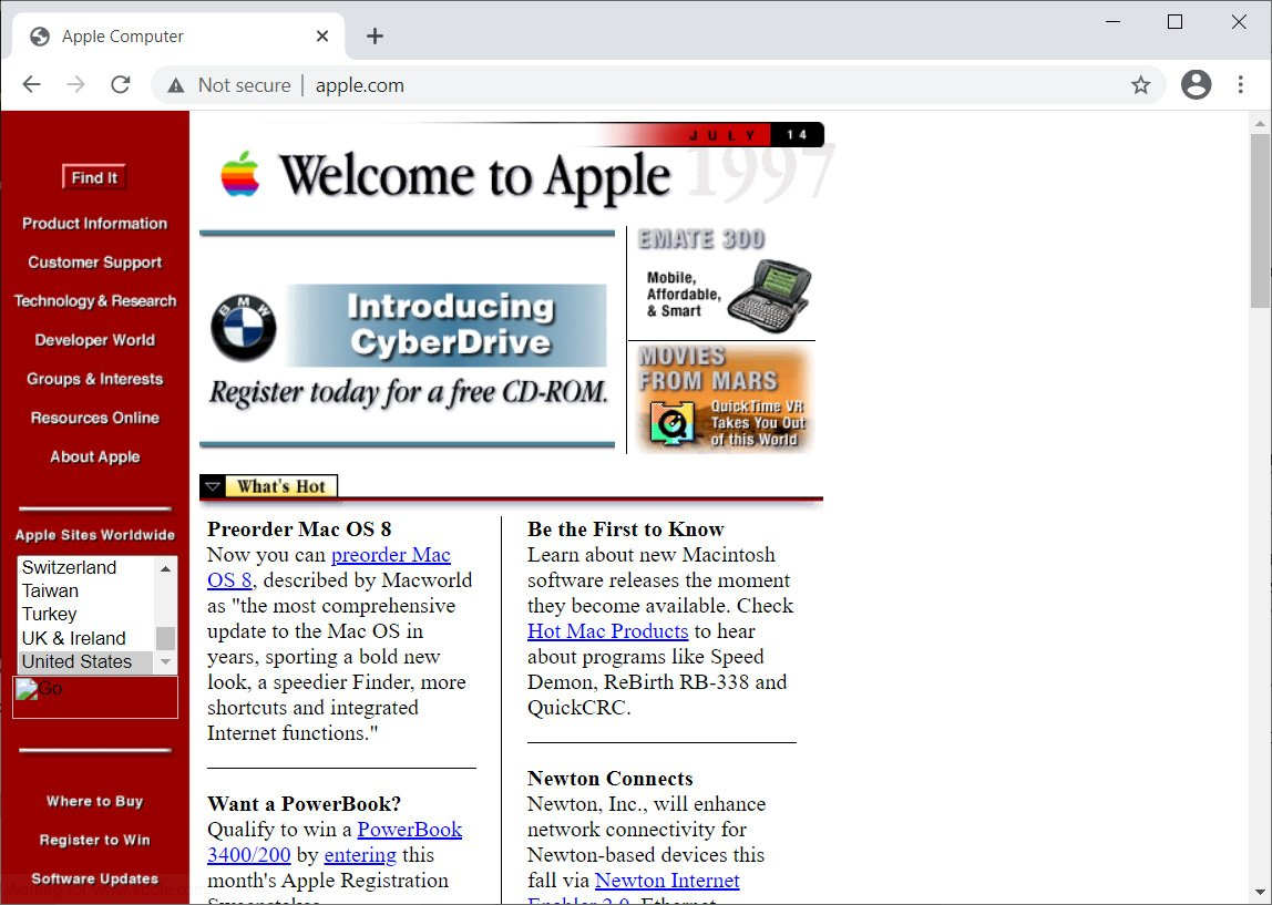 Apple.com as it looked in 1997