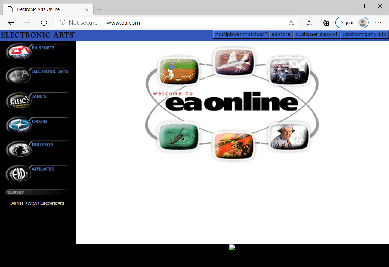 Electronic arts (ea.com) website from 1997