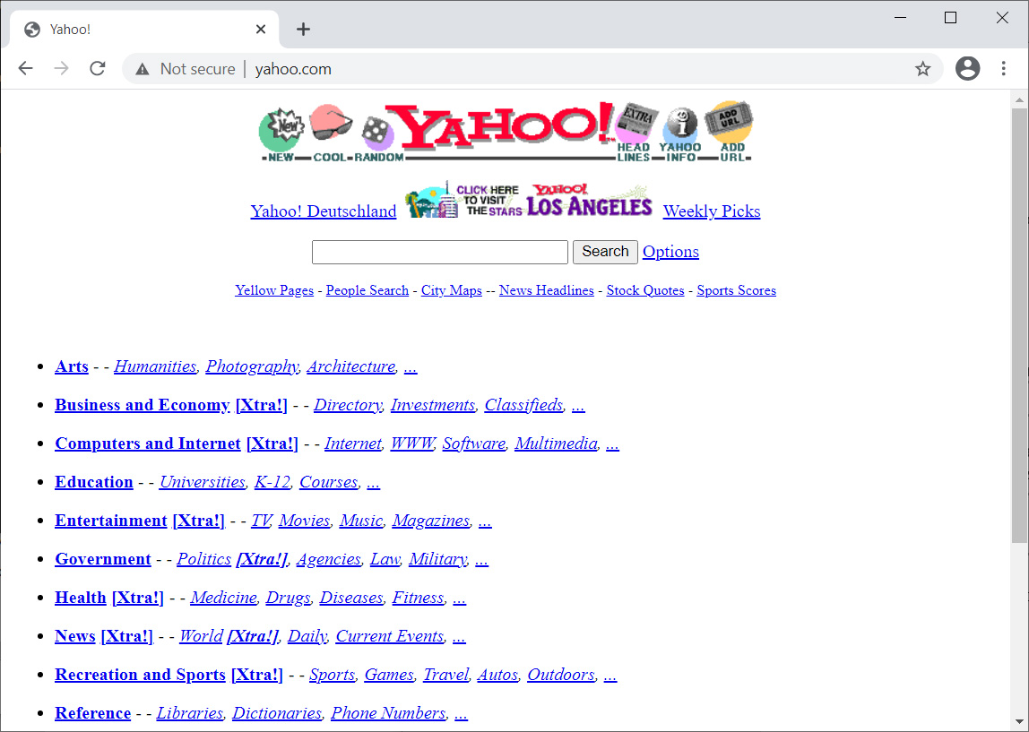 The first popular search engine, Yahoo.com, in 1996