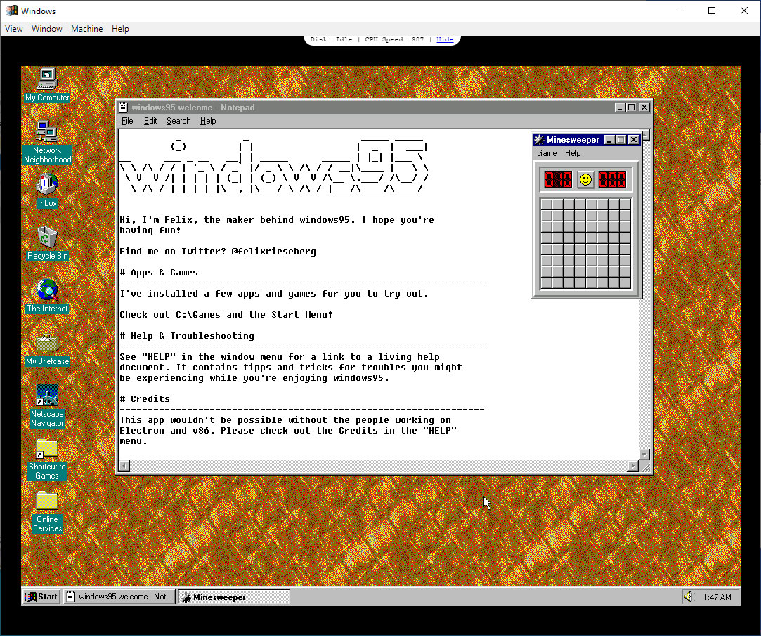 Windows95 v2.0 Lets You Play DOOM, Wolfenstein 3D, and More