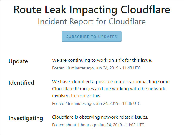 BGP Route Leak Causes Cloudflare and Amazon AWS Problems