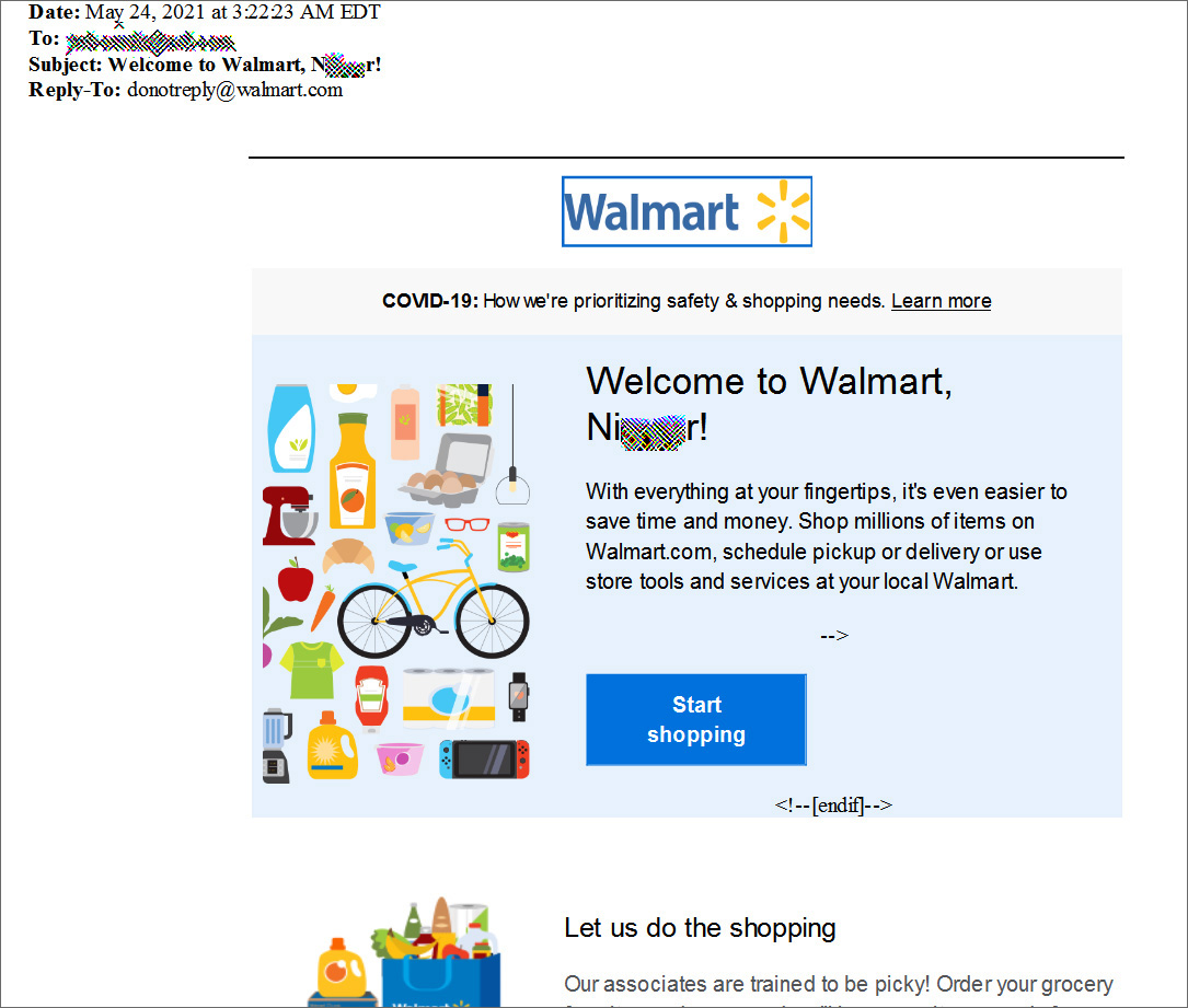 Walmart registration email containing a racist name