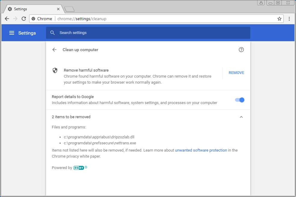 Threats Detected by Chrome Cleanup Tool