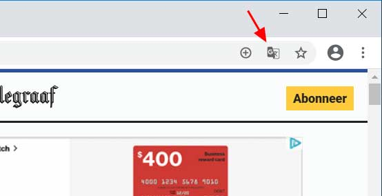 Translate button in the Chrome address bar