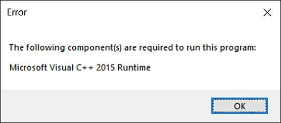 Missing Microsoft Visual C++ 2015 Runtime error
