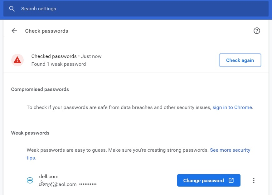 Safety check showing weak passwords