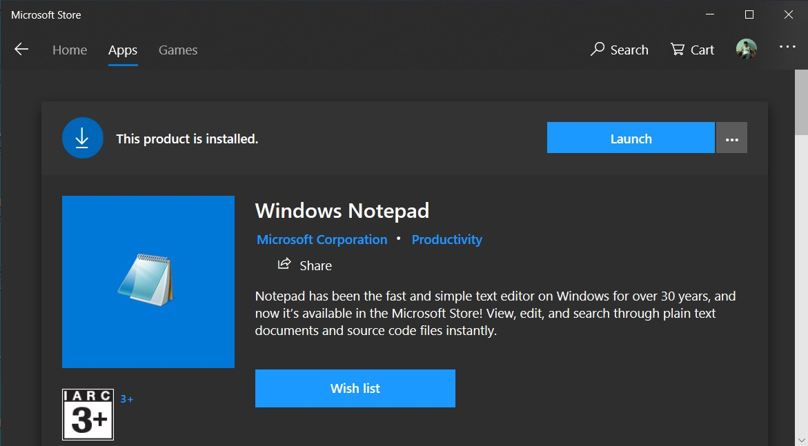 Windows 10 Notepad Added to Microsoft Store, Only for