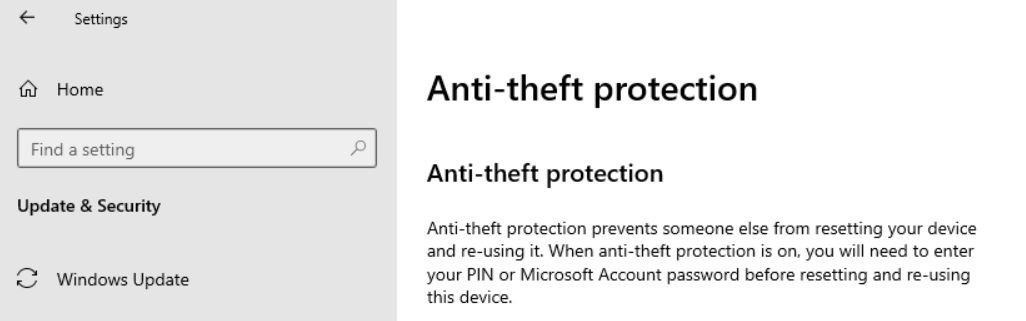Windows 10X Anti-theft protection