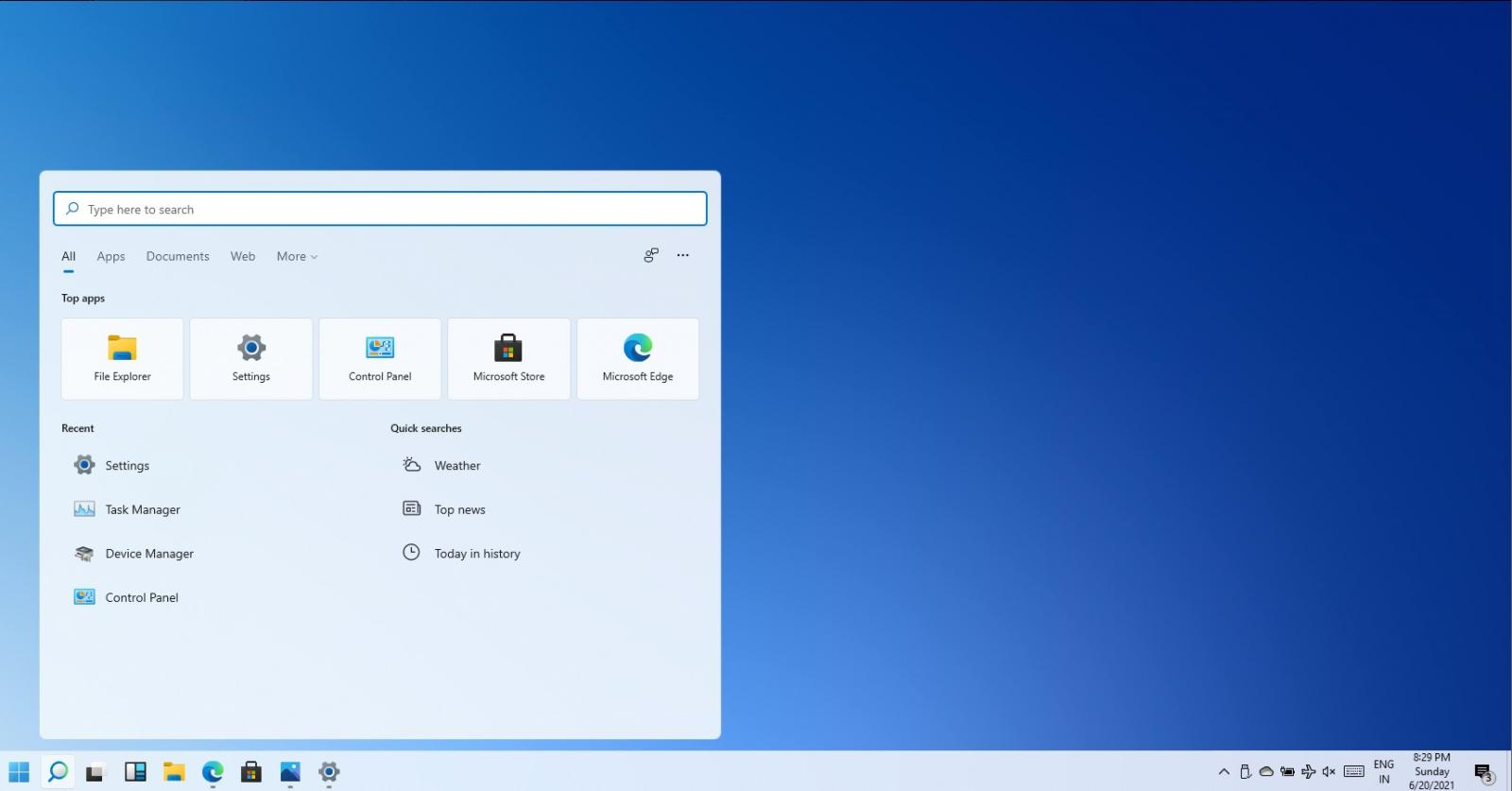 Windows floating search