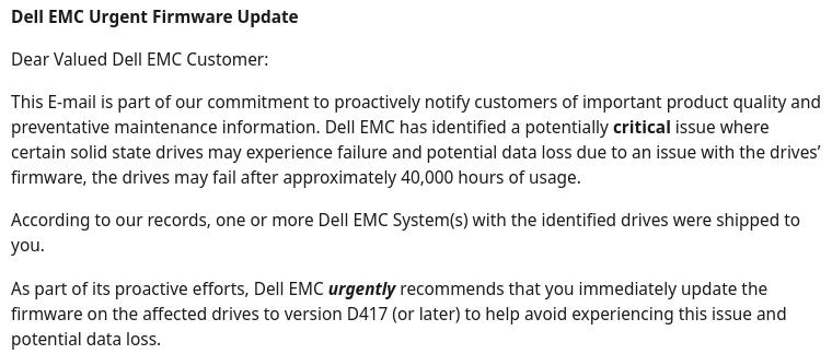 Dell EMC Firmware update message