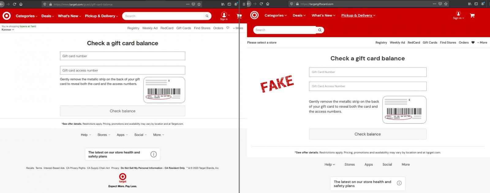 Verificación del saldo de la tarjeta de regalo de Target