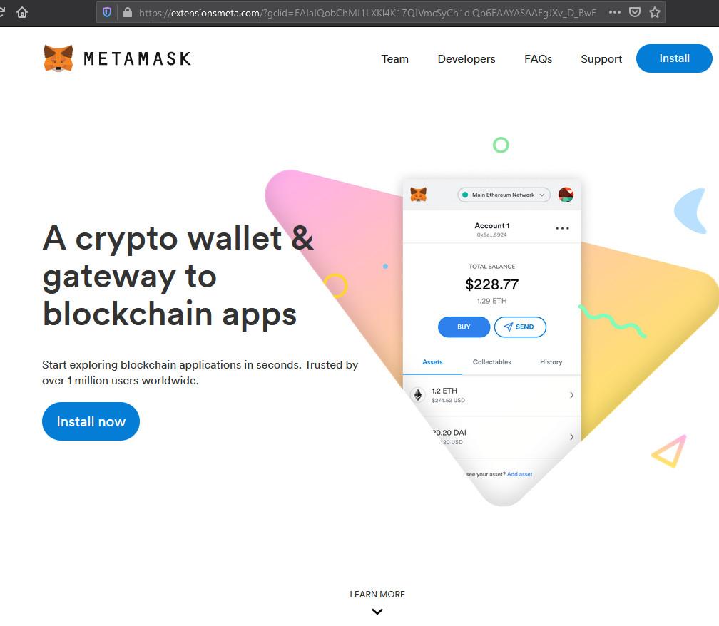 Fake MetaMask site