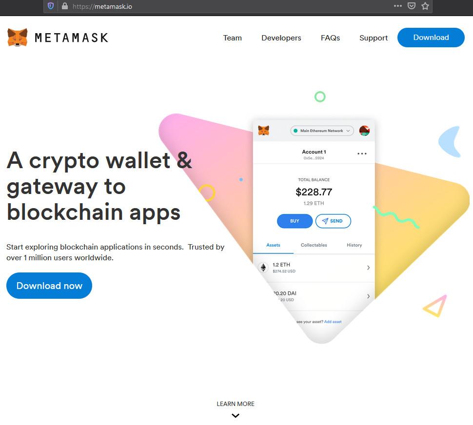 Legitimate MetaMask site