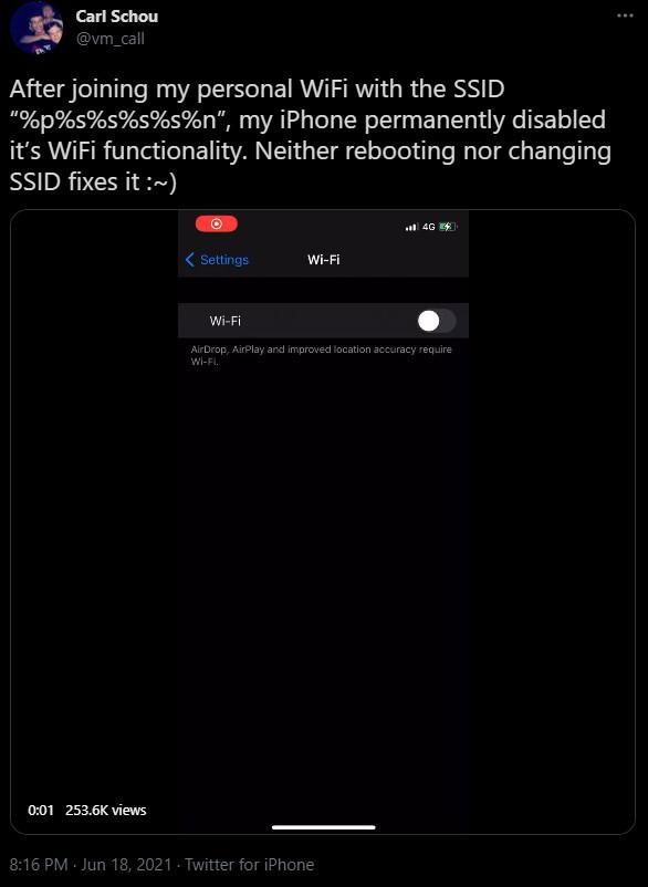 iPhone WiFi loop crashing