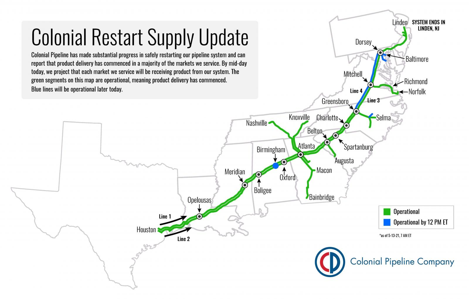 Colonial Pipeline system restoration map