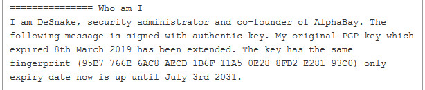 DeSnake verification via PGP key