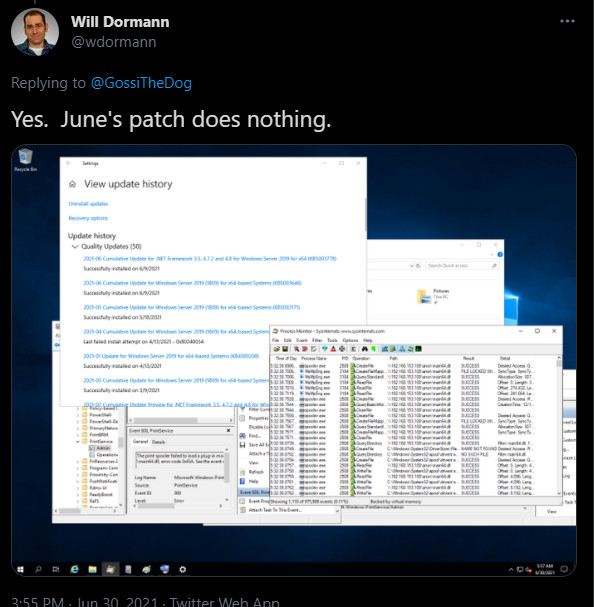 PrintNightmware is a zero-day in Windows Print Spooler