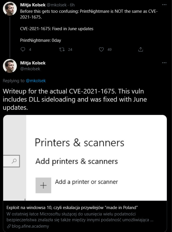 PrintNightmare different from CVE-2021-1675