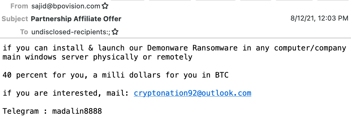 Nigerian scammer tries to deploy open-source ransomware via company insider